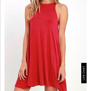 Lulu's Red swing shift pocket tank dress XS